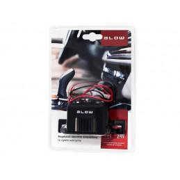 Gniazdo zapalniczki do obudowy podwójne montaż+bezpiecznik - 96-863