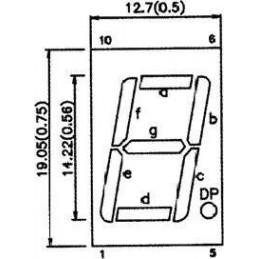 Wyświetlacz LED SA56-11GWA 1-cyfra zielony wsp.anoda