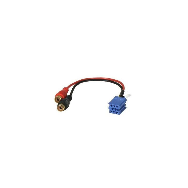 Złącze MINI-ISO wtyk niebieski - 2gn.RCA (AUX Grundig) - 0411