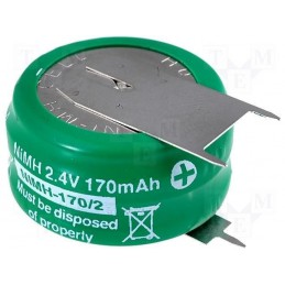 Akumulator 2,4V 170mAh NimH 25,2x13,2mm do lutowania - ACCU-170-2