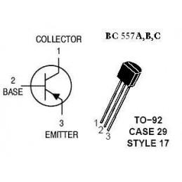 Tranzystor BC557 pnp 50V 0,1A 0,5W obudowa TO92