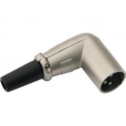 Wtyk mikrofonowy XLR 3-pin na kabel KĄTOWY