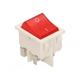 Przełącznik klawisz duży podświetlany 230V czerwony w białej ramce ORNO / ŁK-6/BIAŁY