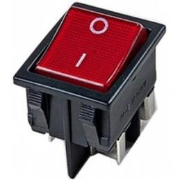 Przełącznik klawisz duży podświetlany 230V czerwony w czarnej ramce ORNO / ŁK-6/CZARNY