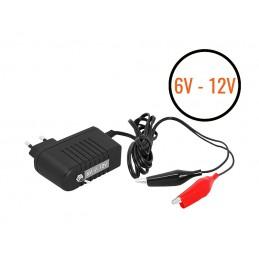 Ładowarka akumulatorów żelowych, AGM i kwasowo-ołowiowych 6V-12V/0,75A LED. / LxB420