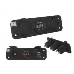 Gniazdo zapalniczki montażowe USB z woltomierzem hermetyczne / LxET85