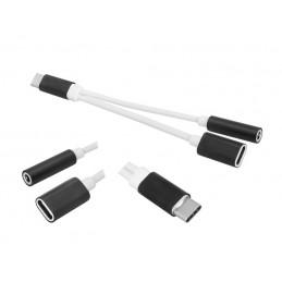 Przejście USB-C wt-gn+dn.DC 2in1 z ładowaniem, czarny / LxAD08