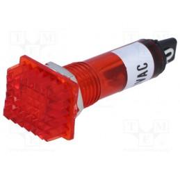 Kontrolka 12x16mm 230V czerwona na otwór 10mm / NSL-R