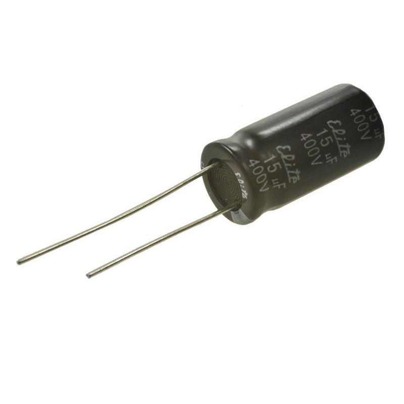Kondensator 15uF/400V elektrolit 105st.c