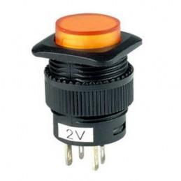 Przełącznik przycisk R13 2V okrągły podświelany chwilowy żółty
