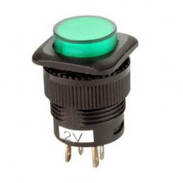 Przełącznik przycisk R13 2V okrągły podświetlany OFF-ON zielony