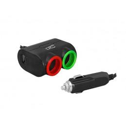 Rozgałężnik gniazda zapalniczki x2 + USB 5V/1,2A 12/24V czarny / LxAS10