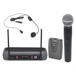 Mikrofon bezprzewodowy 2-kanałowy (nagłowny+dynamiczny) BLOW PRM903 / 33-003