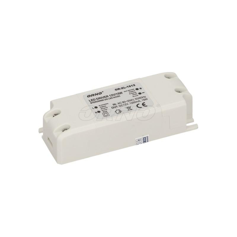 Zasilacz 12V/1,25A 15W montażowy do LED ORNO / OR-ZL-1612