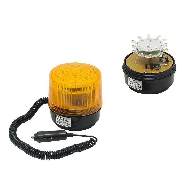 Kogut-lampa ostrzegawcza 12V LED pomarańczowy z magnesem / 26-431