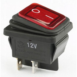 Przełacznik klawisz hermetyczny podśw. szeroki czerwony KCD2R-12VDC 16A
