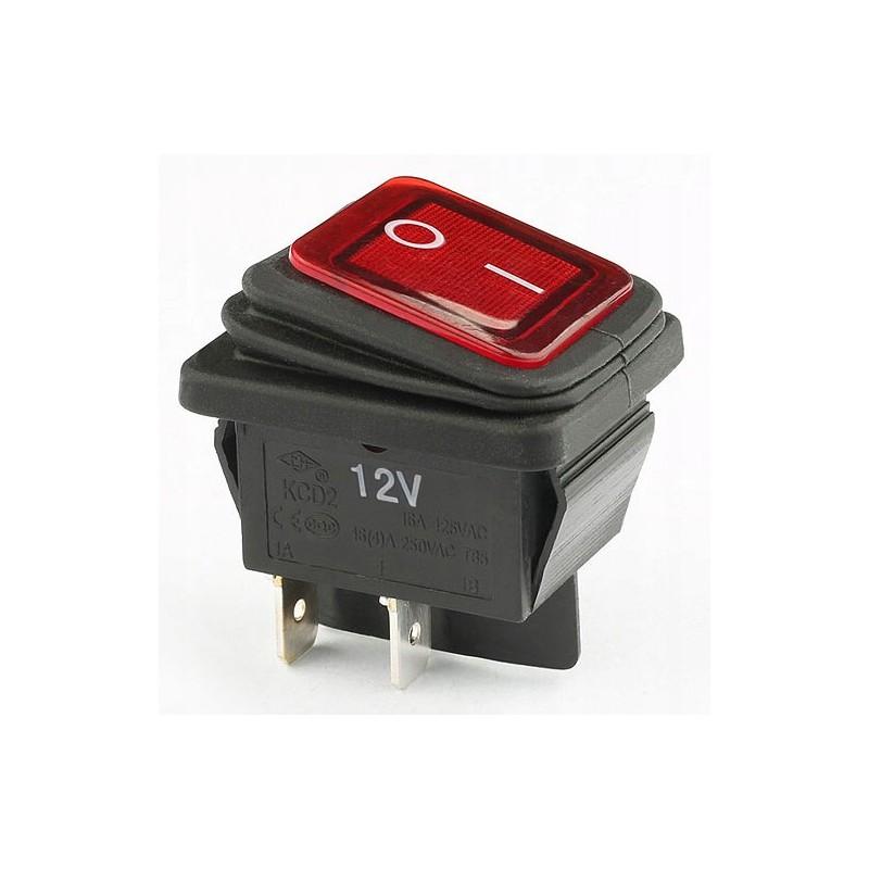 Przełacznik klawisz hermetyczny podśw. szeroki czerwony KCD2R-12VDC 16A / 8976 rs