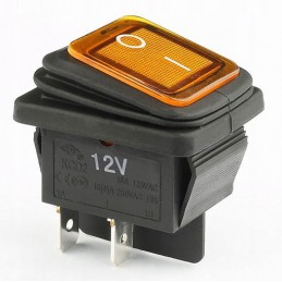 Przełacznik klawisz hermetyczny podśw. szeroki żółty KCD2Y-12VDC 16A