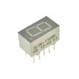 Wyświetlacz LED SC36-11GWA 1-cyfra zielony wsp.katoda