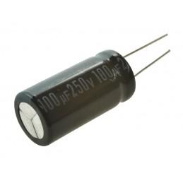 Kondensator 100uF/250V elektrolit 105 st.c 100/250