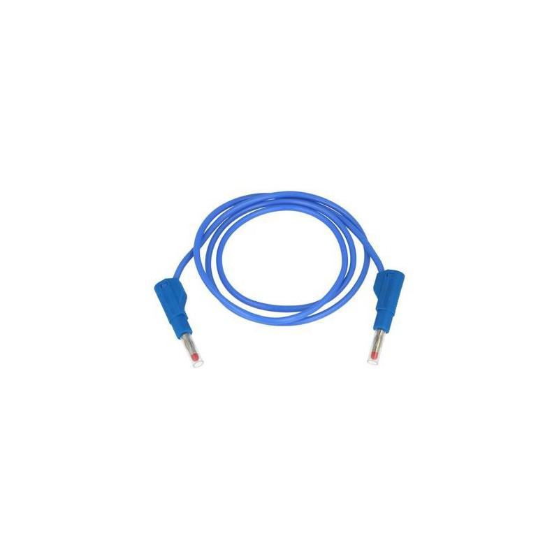 Przewód pomiarowy 32A/600V silikon 2x wtyk bananowy niebieski