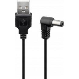 Złącze USB A/DC 5,5/2,1 wt-wt 1m kątowy Goobay