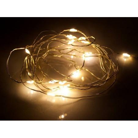 Lampki choinkowe na baterie 25 LED białe ciepłe