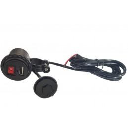 Zasilacz-ładowarka do motocykla USB 5V 2.1 z wyłącznikiem / 010212