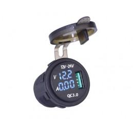 Gniazdo USB ładowarki samochodowej montażowe voltomierz amperomierz / 009723 aks