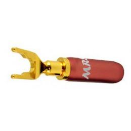Konektor widełkowy MRS127 8mm. pod zacisk głośnikowy czerwony