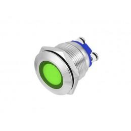 Kontrolka LED 18mm 12V zielona metal / LXEK5674