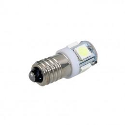 Żarówka LED E10 z gwintem 12V biała 5 led