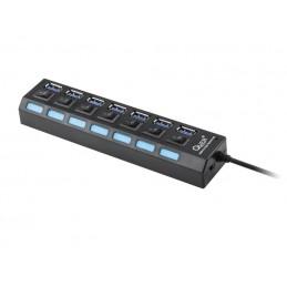 HUB USB 3.0 7-portowy z wyłącznikami / KOM0941