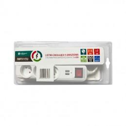 Listwa przepięciowa 3gn.1,5m + 2x USB (DC 5 V, 2,1 A) / FMP3115U