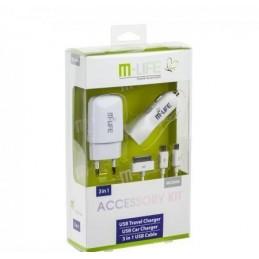 Zasilacz 5V/1A/2,1A zestaw sieciowa+samochodowa+kabel 3w1 M-LIFE / ML0606
