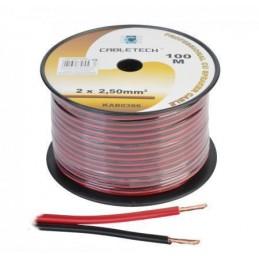Przewód głośnikowy 2x2,5 czarno-czerwony miedż / KAB0386